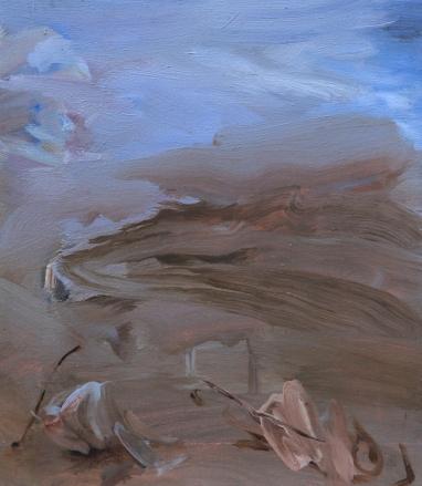 Ascesa al monte ventoso, olio su tela 28 x 31,5cm.
