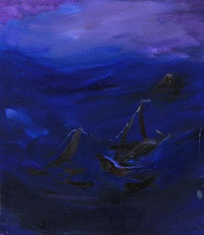 Naufragi, olio su tela 28 x 31,5cm.