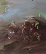 Departure, oil on canvas, 28x31,5cm.