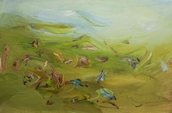 Oscar I. Contreras Rojas-El parque-acrilico e olio su tela 50x30cm