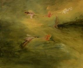 volo, olio su tela 230 x 150cm.